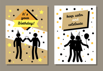 Its Your Birthday Cards Set Vector Illustration