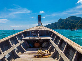 View from the nose of a wooden boat. Thailand. Phi Phi. Vacation holidays travel background wallpaper