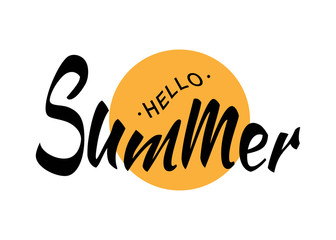 Black Vector Lettering Hello Summer with yellow sun circle isolated on white background.  Fun summer typographic design logo for t-shirt, poster, flyer. Vector illustration