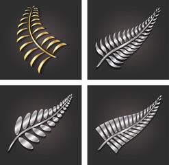 New Zealand Silver Fern Leaf and Gold Logo Design