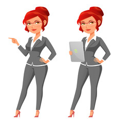 cute cartoon business woman with tablet