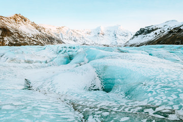 vatnajokull glacier frozen on winter season, iceland