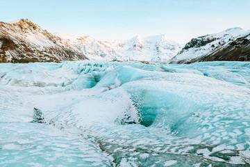 Foto op Canvas Gletsjers vatnajokull glacier frozen on winter season, iceland