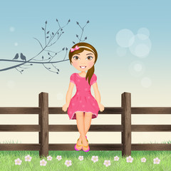girl sitting on fence in spring