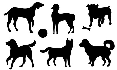 Set of icon dogs. Black silhouettes of a dog isolated on a white background. Collection of black icons of dog. Vector illustration.