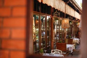 Terrace restaurant, setting tables outside