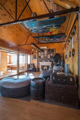 Intrior design of modern log cabin
