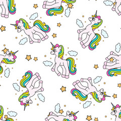 Vector seamless pattern with unicorns