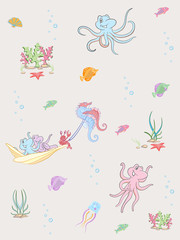 Vector seamless pattern of sea life. Seamless pattern can be used for wallpaper, pattern fills, web page background, surface textures.