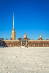 panorama of the Peter and Paul Fortress in St. Petersburg in the winter