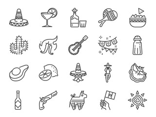 Mexican line icon set. Included the icons as maracas, piñata, traditional hat, nacho, spicy sauce, cactus, flamenco dance, liquor and more.