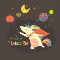 Magic cute unicorn in cartoon style