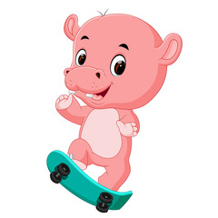 cute hippo playing skateboard