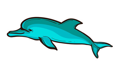 Vector illustration of a funny dolphin jumping