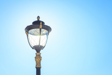Ancient street lamp close up
