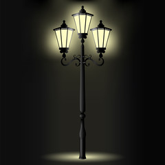Vector image of a realistic, decorative pillar with a light for lighting