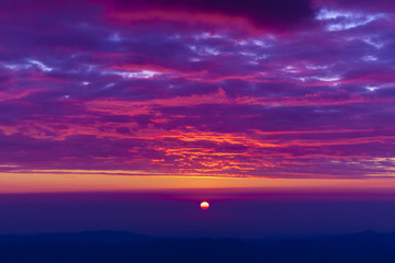Poster Violet beautiful sunset landscape seen from mountain of Romania, Ceahlau