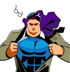 Superhero hero male businessman pop art retro.