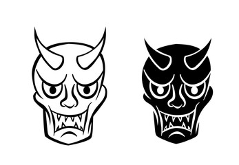 Hanya mask ; Evil ghost face in logo and icon