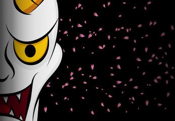 Hanya mask ; Evil ghost face on black with sakura