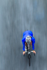 Cycling Rider Speed Motion Blur Overhead