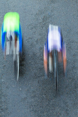 Cycling Riders Speed Motion Blur Overhead