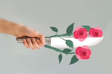 Cropped image of woman holding knife with roses isolated on gray