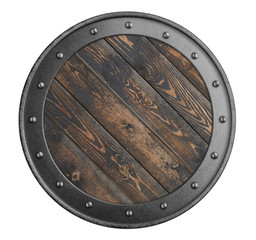 old wooden shield of vikings isolated 3d illustration
