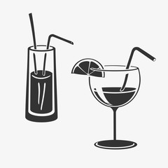 Vector Illustration Cocktail In Glass Icons