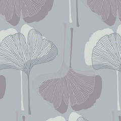 Hand drawn ginkgo leaves vector pattern in gray colors palette