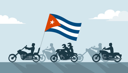 Bikers on motorcycles with cuba flag