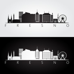 Fresno usa skyline and landmarks silhouette, black and white design, vector illustration.