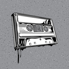 Black and white audio cassette in graffiti style