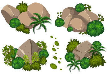 Four patterns of rocks and trees