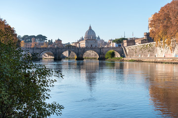 View at Tiber and St. Peter's cathedral in Vatican. Rome. Italy