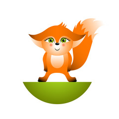 Isolated red cartoon fox cub on white background. Orange standing frendly fox. Wild animal funny personage.