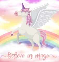 Unicorn with wings on rainbow sky