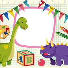 Border template with two dinosaurs