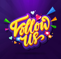 Follow Us Memphis Colorful card. Memphis card set for social media networks and follower. Hand lettering with doodles of hearts, comments and new followers. Vector illustration