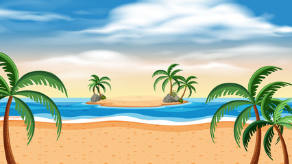 Background scene with island and ocean