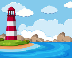Background scene with lighthouse by the sea