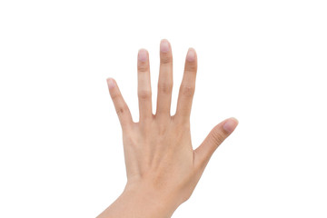 Hand sign for five and stop symbol isolated background.