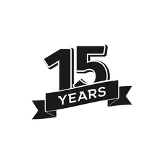 Vector 15 years anniversary logotype. Isolated black logo 15th jubilee on white background