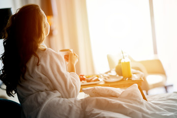 Breakfast in bed, cozy hotel room Wall mural