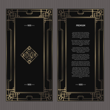 Vector card. Art Deco style. Dark golden geometric frame on black background. Luxury menu concept with logo.
