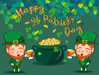 Happy Saint Patrick's day Festival. Irish celebration .Green clover shamrock leaves on isolate background for poster, greeting card, party invitation, banner other users Vector illustration