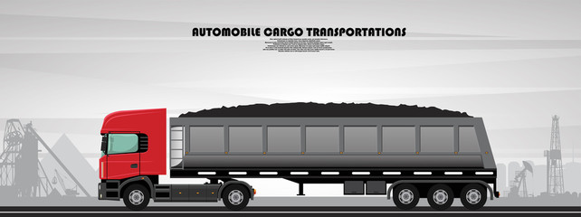 Illustrated poster on the theme of trucking