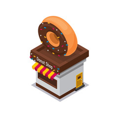 Isometric icon of donut shop