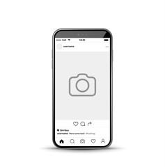 Social network photo frame mobile template. Social media app vector illustration