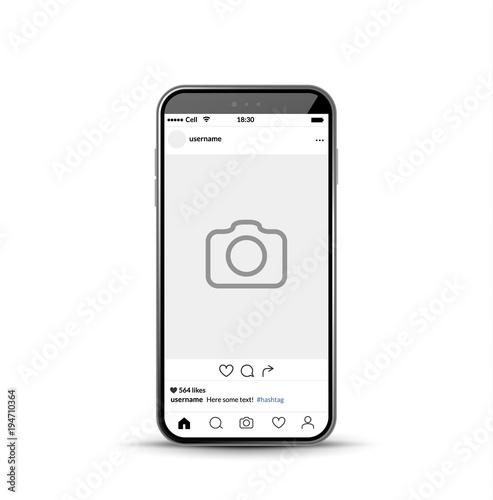 Social network photo frame mobile template. Social media app vector ...